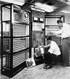 old black and white photo of radio equipment in a lab