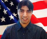 Picture of Shane Hill against an American Flag background