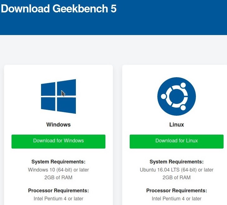 geekbench 5 download webpage