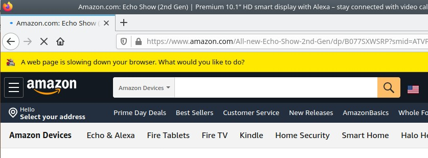 Amazon notification A web page is slowing down your browser